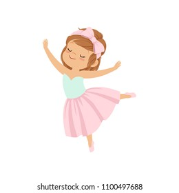 Cute ballerina girl in pink dress dancing vector Illustration on a white background