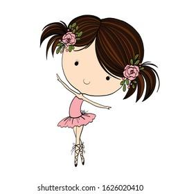 Cute Ballerina little girl vector illustration