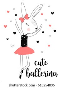 cute ballerina rabbit illustration vector for print design.