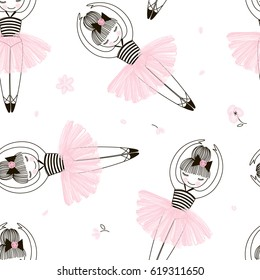 cute ballerina seamless pattern