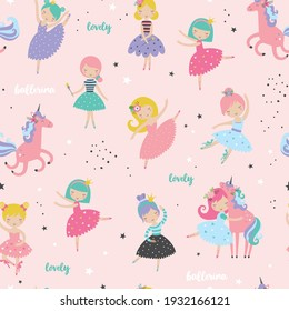 Cute ballerina with sweet unicorn childish seamless pattern. Creative nursery texture. Perfect for kids design, fabric, wrapping, wallpaper, textile, apparel