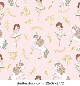 Cute ballerina with sweet unicorn pattern design for kids artworks, wallpapers, prints.
