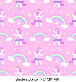 Cute ballerina unicorn seamless vector pattern