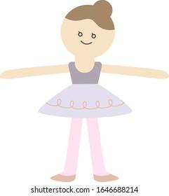 Cute Ballet Girl, Second Position, Ballerina Vector Illustration