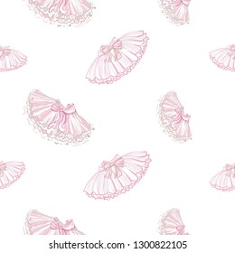Cute ballet seamless pattern with ballerina skirt and tutu. Hand drawn vector sketch. Baby fashion design.
