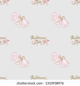 Cute ballet seamless pattern with ballerina slogan and tutu skirt. Hand drawn vector sketch. Gold and pink vintage watercolor illustration on white background. Baby fashion design.