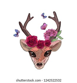 cute bambi head, butterflies and roses element, fores fairy, print for textile texture, phone case, cover sketchbook