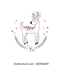 cute bambi, kid doodle illustration