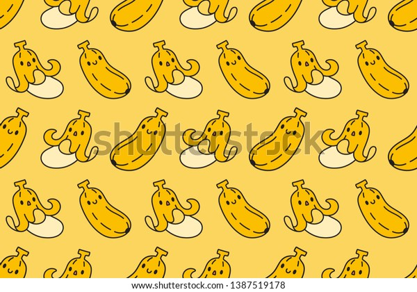 Cute Banana Seamless Pattern On Yellow Stock Vector Royalty