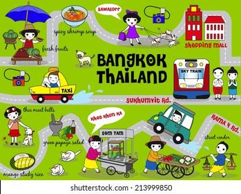 Cute Bangkok Thailand Guide Map illustration set