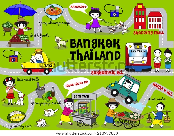 Cute Bangkok Thailand Guide Map Illustration Stock ...