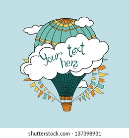 Cute banner with hot air balloons, clouds and place for your text