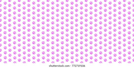 Cute banner with seamless pattern of rose animal paw prints on white background. Vector illustration, poster, template, wallpaper.