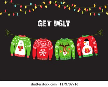 Ugly Christmas Sweater Party Invite.Ugly Sweater Party Invitation Stock Vectors Images Vector