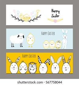 Cute banners with hand drawn easter illustrations