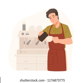 Cute barista making cappuccino at cafe or coffeeshop. Smiling young man in apron adds cream or milk in coffee. Male cartoon character preparing drink. Colorful vector illustration in flat style