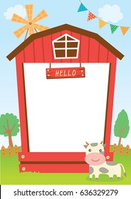 Cute barn design for frame template decorated with cow and wind wheel on farm natural background.