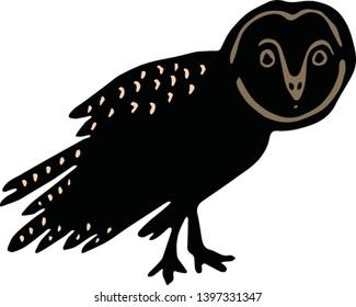 Cute barn owl silhouette cartoon vector illustration motif set. Hand drawn bold avian elements clipart for birdwatching blog. Forest animal graphics.