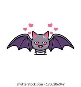 Cute bat love mascot vector design.