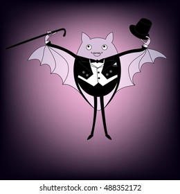 Cute bat in tails with a cane and a hat. Vector card.