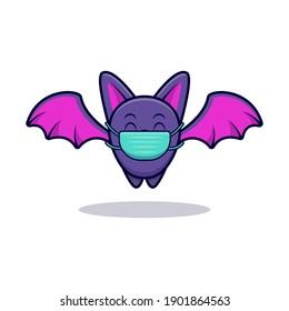Cute Bat Wearing Mask Cartoon Icon Illustration