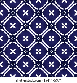 cute batik patterns Malaysia and India style, indigo seamless modern background for design porcelain, chinaware, texture, wall, paper and fabric, blue and white wallpaper decor, floral backdrop vector
