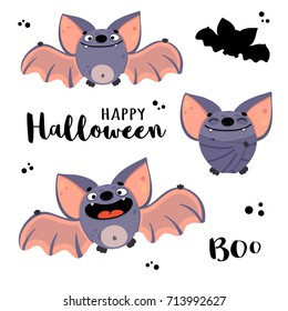 "Cute bats in cartoon style. Vector illustration with inscriptions ""Happy Halloween"" and ""Boo"". Characters of happy flittermouse for kid's halloween party design, holiday invitation cards and posters."