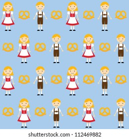 Cute bavarian children in traditional clothing, seamless vector pattern