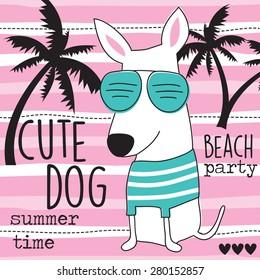 cute beach dog vector illustration