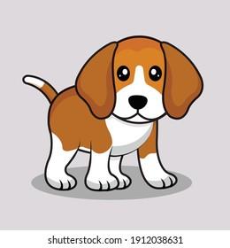 Cute beagle cartoon vector,Happy cartoon puppy sitting,.Beagle puppy.