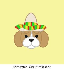 Cute Beagle Celebrates Cinco de Mayo Wears Sombrero Cartoon Vector Illustration