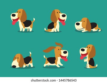 Cute beagle dog cartoon character, Funny in different poses, Lovely pet, Vector illustrations