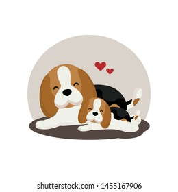 Cute Beagle and puppy with hearts.