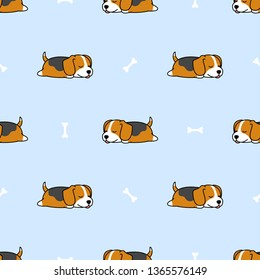 Cute beagle puppy sleeping with bone cartoon seamless pattern, vector illustration