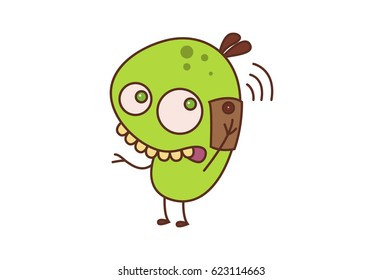 Cute Bean Monster talking on the phone. Vector Illustration. Isolated on white background.