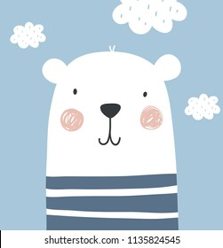 Cute bear baby poster. Baby Shower invite design