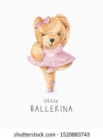 cute bear in ballerina costume illustration