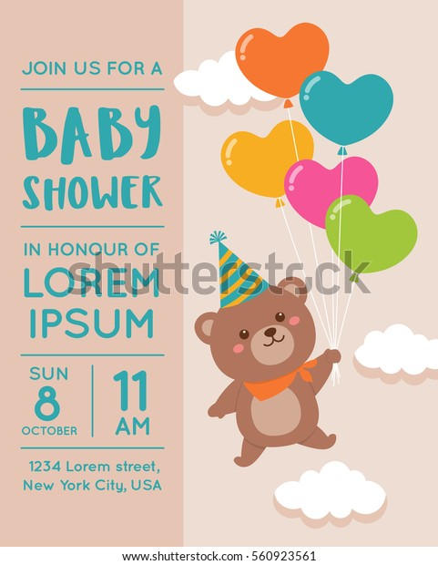 Cute Bear Balloon Illustration Baby Shower Wektorowa