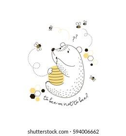 cute bear with beehive , kid design