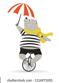 Cute bear with bicycle.Circus show illustration.T-shirt graphics.Animal print