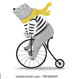Cute bear with bicycle.Circus show illustration.T-shirt graphics