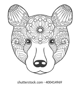 Cute bear. Black white hand drawn doodle animal. Ethnic patterned vector illustration. African, indian, totem, tribal, zentangle design. Sketch for coloring page, tattoo, poster, print, t-shirt