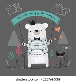 Cute bear cartoon hand drawn vector illustration. Can be used for t-shirt print, kids wear fashion design, baby shower invitation card.Think happy be happy slogan.