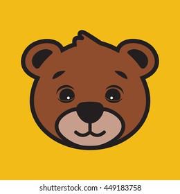 Cute bear cartoon head vector