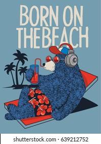 cute bear character vector design on beach