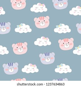 Cute bear and cloud seamless pattern