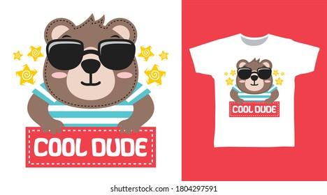 Cute bear cool dude for print on tee