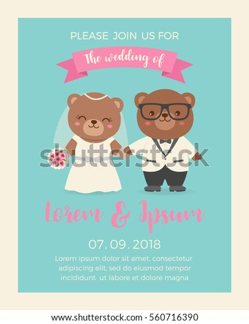 cute bear couple illustration wedding invitation stock vector