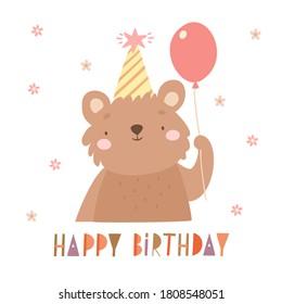 cute bear cub with air balloon. birthday, lettering, cute animal, greeting card invitation