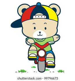 cute bear cycling